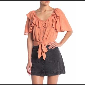 Free People The Rosemary Top in Peach Size Large